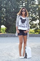white Bershka bag - heather gray Zara blazer - black H&M shorts