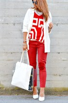 red River Island t-shirt - white Bershka bag - red Zara pants - white H&M wedges