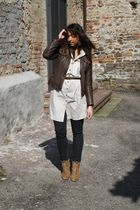 brown made in italy jacket - beige Zara shirt - gray Zara jeans - beige Zara boo