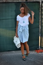 turquoise blue glitter heels asos heels - light blue skirt-shirt Zara shirt