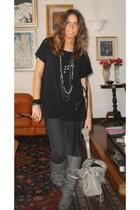 H&M t-shirt - Coolway boots - Zara leggings - H&M bracelet - balenciaga accessor