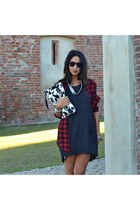 gray H&M dress - brick red H&M shirt