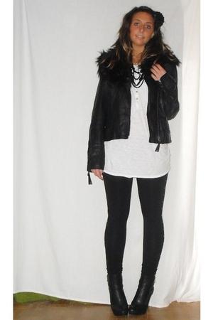 no brand jacket - H&M t-shirt - H&M leggings - silvian heach boots - H&M accesso