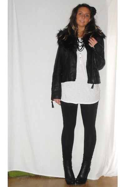 no brand jacket - H&amp;M t-shirt - H&amp;M leggings - silvian heach boots - H&amp;M accesso