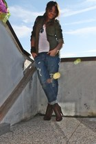 brown leather boots silvian heach boots - blue boyfriend jeans take-two jeans