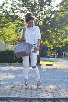 white new look shoes - white Zara blazer - heather gray Celine bag
