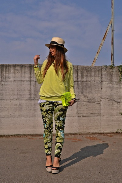 camel H&M hat - yellow Zara sweater - yellow UrbanOG bag - chartreuse Zara pants