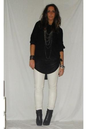 black Zara shirt - beige met pants - black silvian heach boots - silver vintage