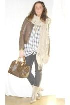 made in italy jacket - Zara shirt - Zara jeans - Marella scarf - Mauro Leone boo