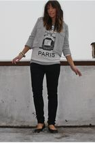 gray pull&bear jacket - white pull&bear t-shirt - black Zara pants - black Zara