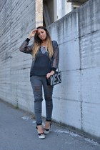 black Forever 21 wedges - heather gray Bershka jeans - silver romwe jacket
