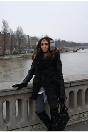 black Zara vest - white Zara dress - silver Zara cardigan - silver matilde leggi