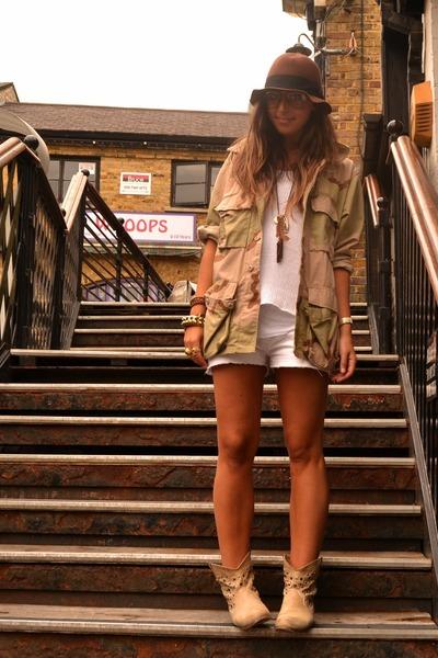 camel leather boots asos boots - brown hat H&M hat - camel vintage shirt - ivory