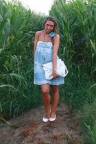 white vintage purse - blue Zara dress - white viamaestra shoes - blue vintage ne