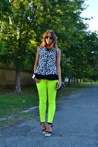 yellow H&M pants - black Zara bag - black Forever 21 wedges - white H&M bracelet