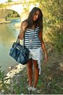 Blue-h-m-shirt-white-h-m-shorts-white-h-m-shoes-blue-no-brand-purse-gold