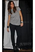 gray Zara t-shirt - black H&M pants - black silvian heach boots - black no brand