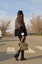 heather gray faux-fur coat romwe coat - black boots H&M boots