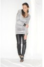 Gray-zara-dress-black-zara-pants-black-zara-shoes-black-h-m-earrings-sil