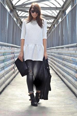 silver Zara dress - black asos boots - heather gray Zara jeans