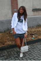 white Zara blazer - white by an italian blogger t-shirt - gray Zara shorts - bei