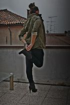 green Zara shirt - black no brand pants - black silvian heach boots - black vint