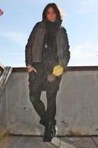 gray pull&bear jacket - black biker boots Zara boots