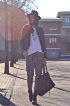 black Zara boots - black She Inside jacket - white ISABEL MARANT POUR H&M shirt