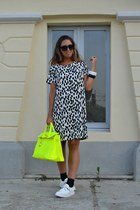 white H&M dress - white creepers asos shoes - yellow italian brand bag