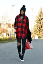 black Topshop boots - ruby red OASAP coat - gray H&M jeans - black OASAP hat