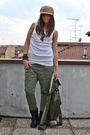 Beige-h-m-hat-white-h-m-man-top-green-zara-pants-black-zara-boots-green-