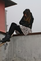 black simil leather Zara jacket - black biker boots Zara boots