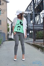 chartreuse H&M t-shirt - white Zara shoes - white H&M hat - white Zara blazer