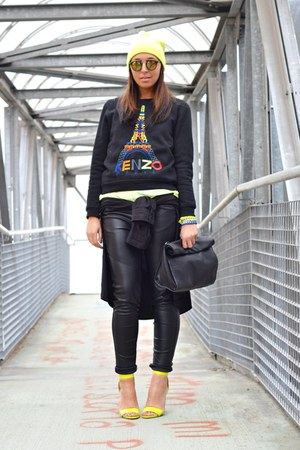 black Zara bag - chartreuse H&M shoes - chartreuse H&M hat