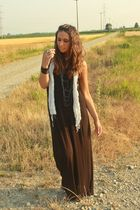 black H&M dress - gray no brand scarf - silver vintage necklace - black H&M brac