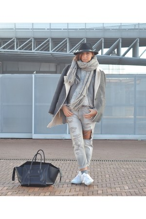 heather gray OASAP jacket - white Adidas shoes - silver no brand jeans