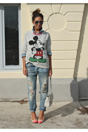 hot pink H&M shoes - heather gray Zara jeans - silver Zara sweater
