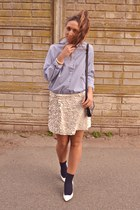 ivory Zara skirt - ivory Zara shoes - light blue Queens Wardrobe shirt