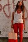Red-color-pants-zara-pants-peach-plastic-bag-gadget-from-magazine-bag