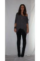 gray H&M shirt - black Zara pants - black silvian heach boots - silver H&M neckl