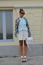 white H&M bag - sky blue bomber Zara jacket - light blue H&M shirt