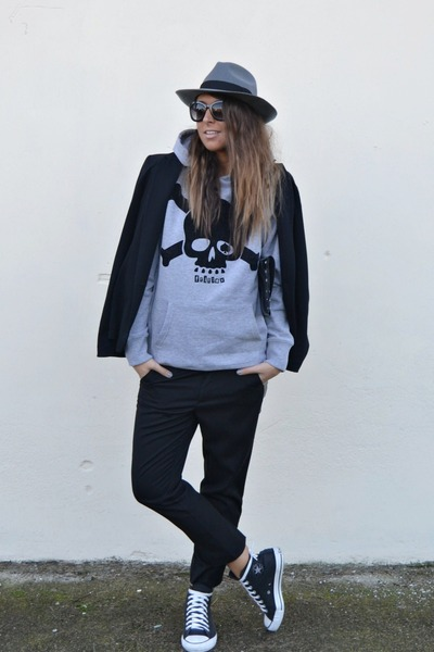 black Zara blazer - heather gray H&M hat - silver italian brand FRITLEX sweater