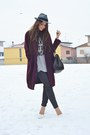 Crimson-h-m-coat-heather-gray-h-m-hat-charcoal-gray-zara-leggings
