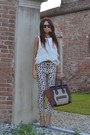 Brown-celine-bag-camel-one-teaspoon-pants-ivory-zara-top