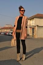 beige boots Zara boots - black pullover Zara sweater