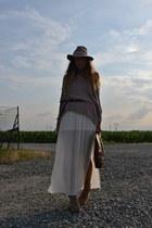 brown vintage bag - cream Topshop hat - cream Zara skirt - brown vintage belt