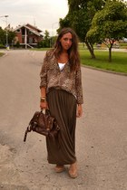 camel Zara blouse - brown bag asos bag - brown maxi-skirt Zara skirt
