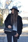 Black-topshop-coat-silver-zara-shoes-black-h-m-jeans-heather-gray-h-m-hat