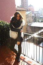 white vintage vest - black no brand jacket - black Zara shirt - black Zara boots