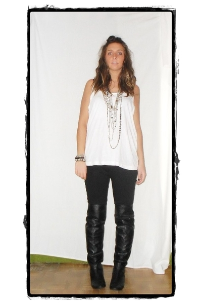 H&M t-shirt - benetton pants - Zara boots - zara homme bracelet - vintage neckla